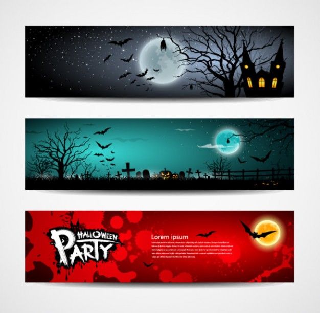halloween banners design set with different color night moon background