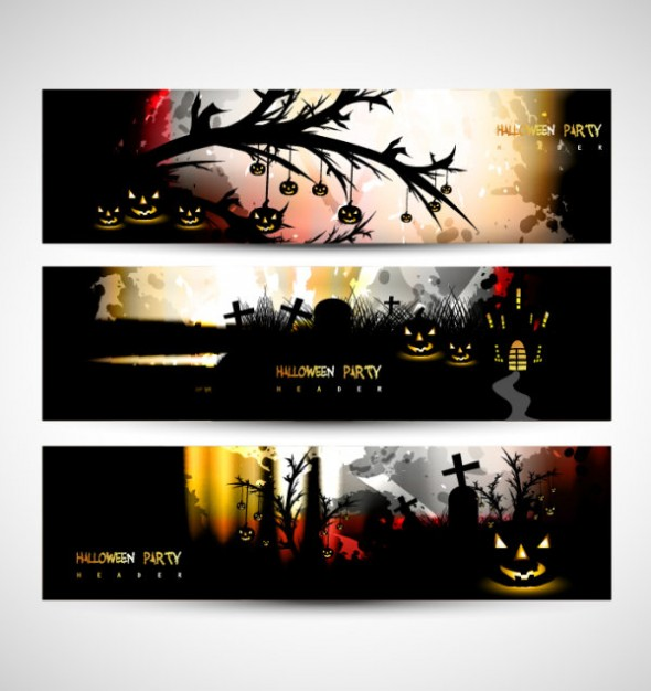 halloween banners scary set with dark background