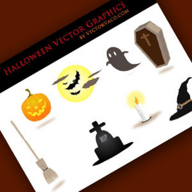 halloween Candle Pumpkin Bat vectors with earth yellow background