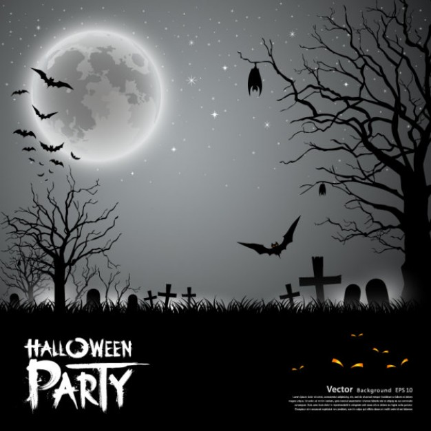 halloween card with grey graveyard bats night background