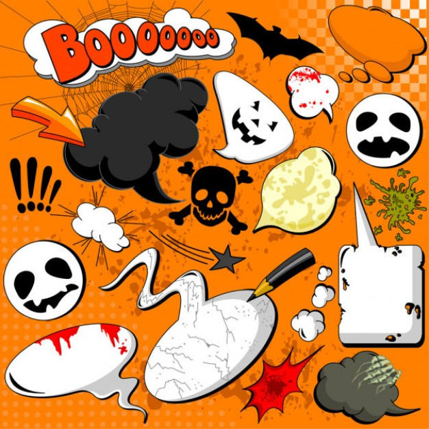 halloween cartoon elements like pumpkin skull ghost bat with orange background