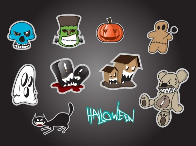 Halloween cartoon icons for halloween with grey background about ghost monster skull