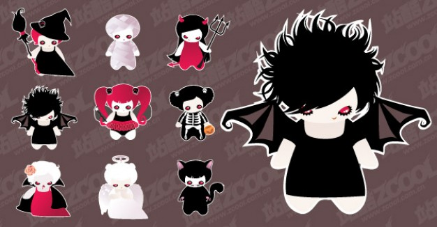 Halloween cute characters set the material brown background about Opinions Graphics