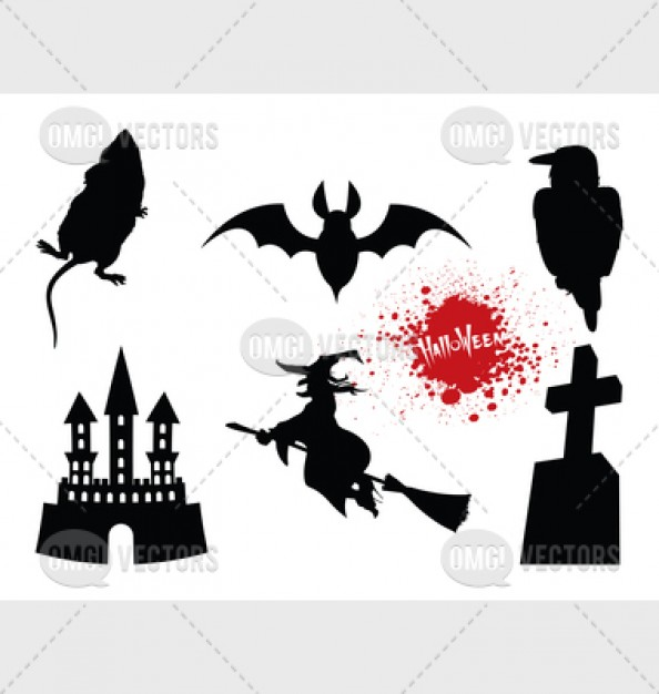 halloween design elements like bat cross witch castle with white background