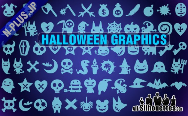 Halloween elements Holiday graphics silhouettes with blue background about Opinions Graphics
