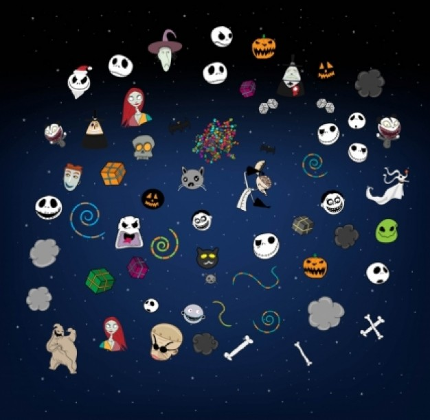 halloween elements with ghost skull etc vectors design with blue background
