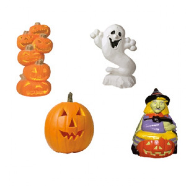 halloween figures like ghost pumpkin witch with white background