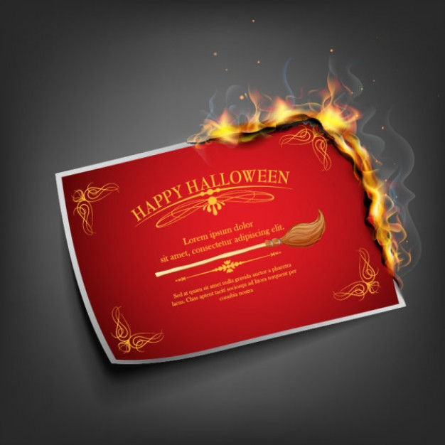halloween flame card design with red firing magic paper