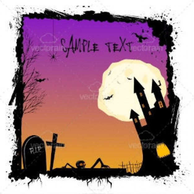 halloween ghost castle cemetery illustration with purple and orange night light background