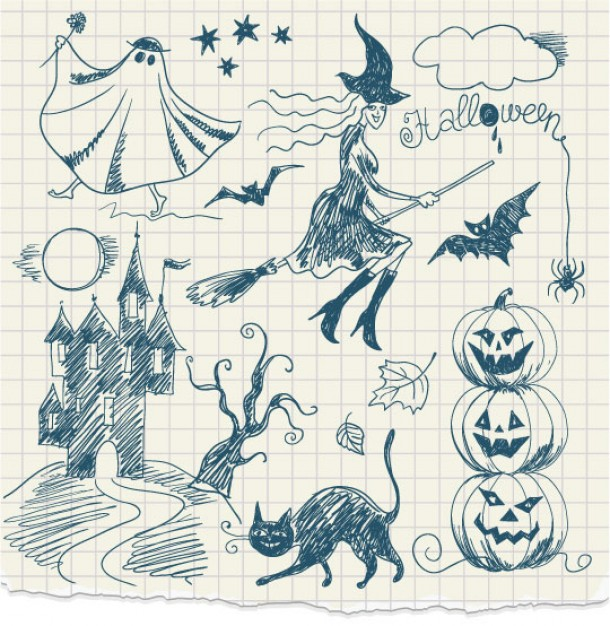 halloween hand drawn with witch and ghost castle