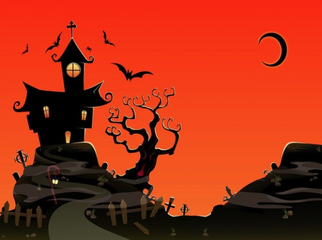 Halloween haunted holiday house art with sunset background about Haunted Attractions Moon