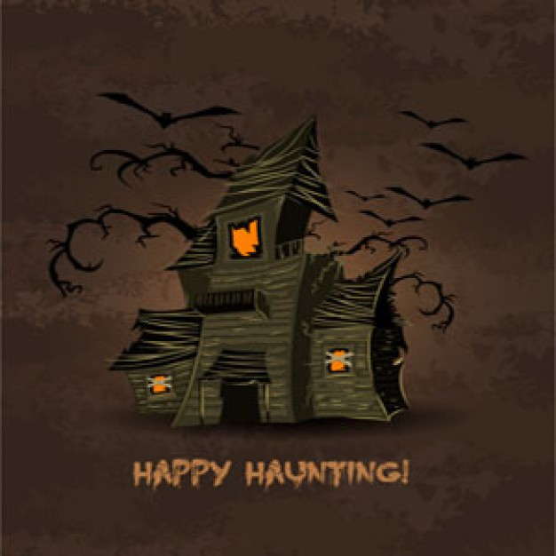 Halloween Holiday happy ghost house counting illustration with brown sky background about bat house