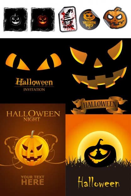 Halloween Holiday icon elements with orange background about Opinions Graphics