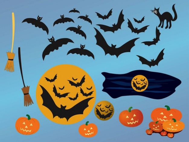 Halloween Holiday night animals icons with blue background about Opinions Jack-o'-lantern