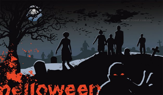 Halloween Holiday scene ghost graves material with night background about Opinions Graphics