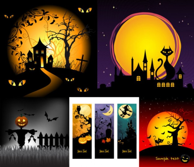Halloween Holiday scene horror cartoon illustration with night background