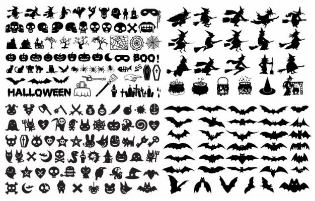 Halloween  Holiday silhouette elements collection about Graphics Haunted Attractions