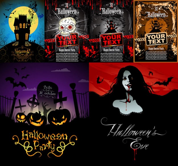 halloween horror posters template with terrible character