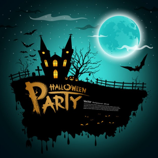 halloween house party cartoon with water blue moon castle bats background