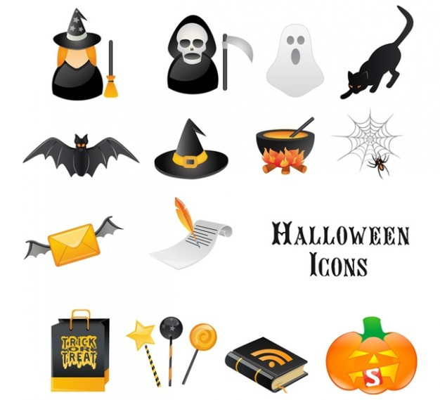 halloween icon elements with white background