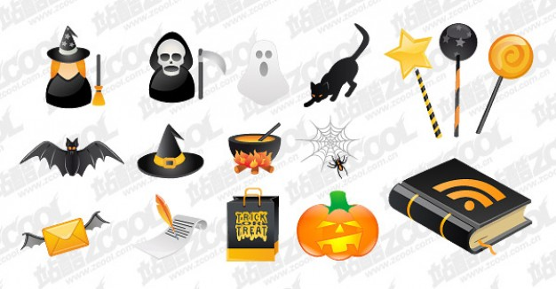 halloween icon material with bat witch ghost cat pumpkin etc