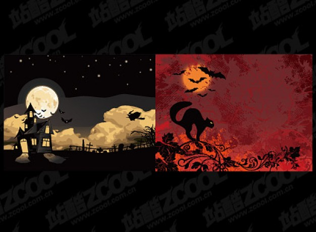 halloween illustrator material with night moon sky background