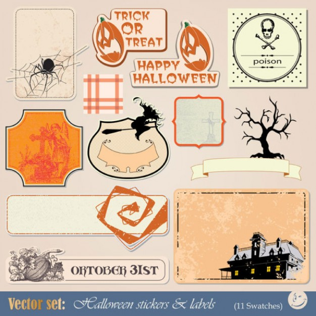 halloween label with pumpkin tree castle spider background