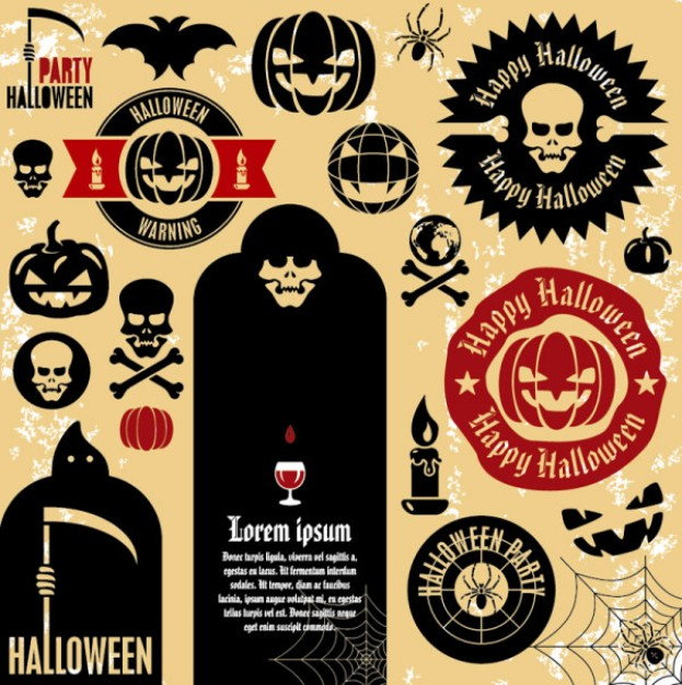 halloween labels design set with earth yellow background