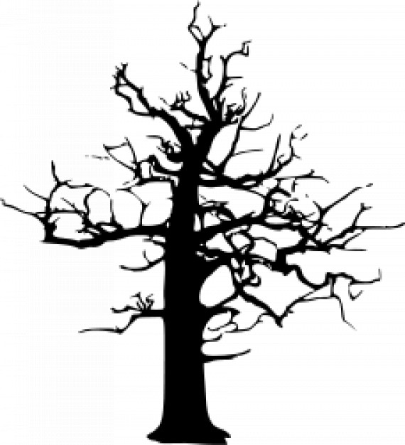 halloween large dead tree in black with white background