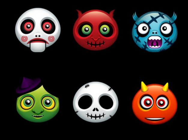 halloween monster avatars with dark background