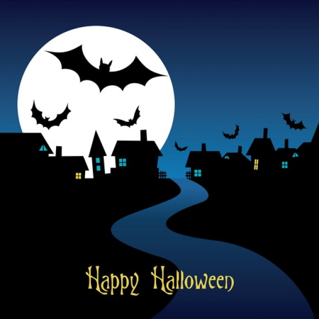 halloween night card  with blue sky and moon castle background
