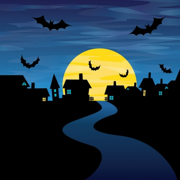 halloween night with blue night sky background