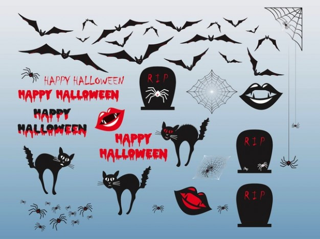 halloween objects and characters like cat bat ghost with light blue background