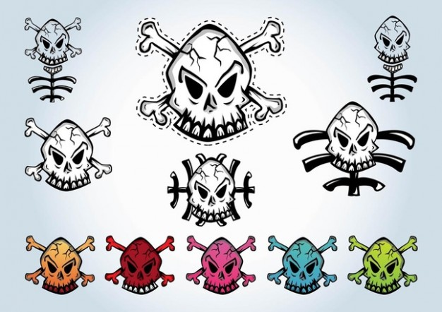 Halloween pack Holiday of cartoon skulls about dangerous style
