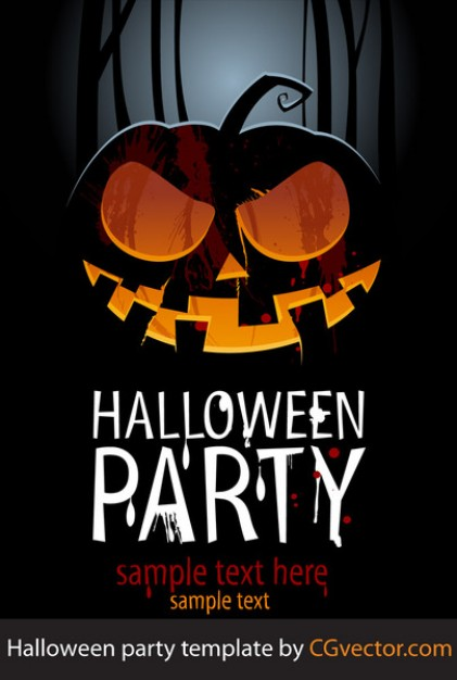 halloween party template with pumpkin dark full moon background