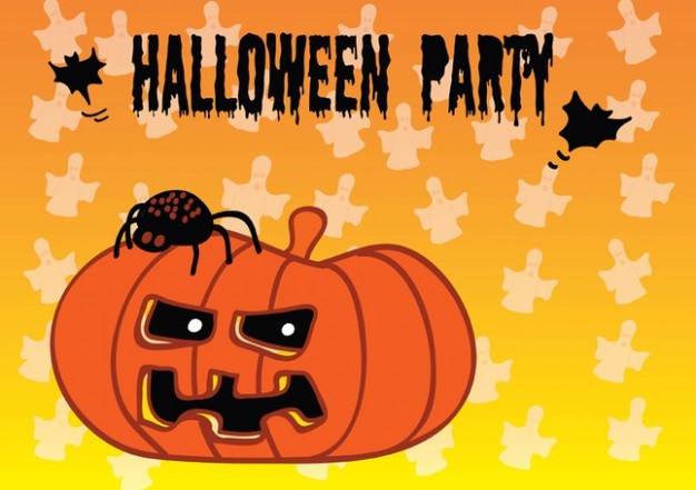 halloween party with pumpkin and orange background