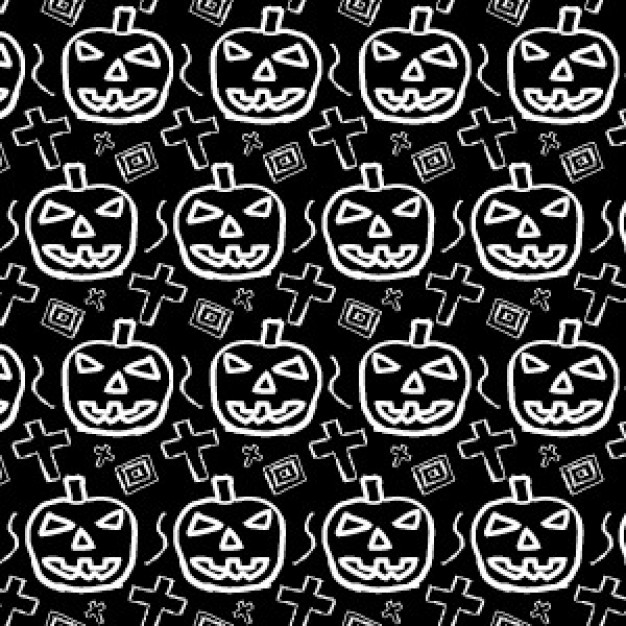 halloween pattern with spooky pumpkin illustrator drawn by hand