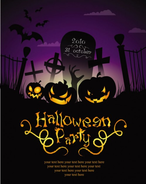 halloween poster with cross bat cemetery silhouettes and scary pumpkins