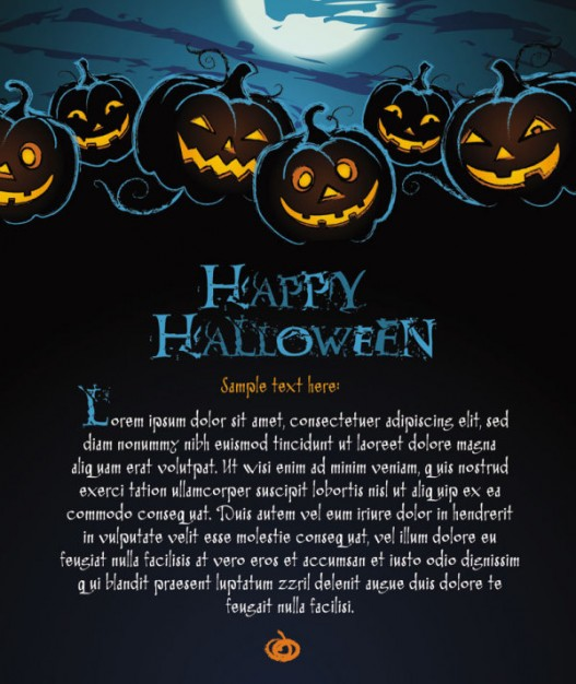halloween poster with dark pumpkin blue moon light cemetery silhouettes and scary pumpkins on top