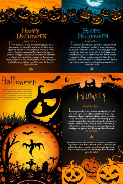 halloween posters element with orange night background