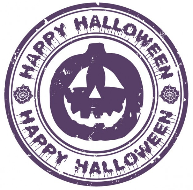 halloween pumpkin badge with purple color
