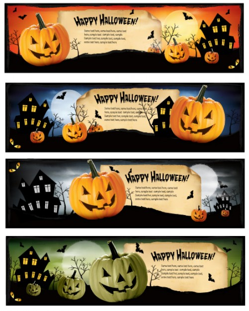 halloween pumpkin banners set with castle night sky background
