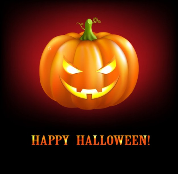 halloween pumpkin card with orange light and red background