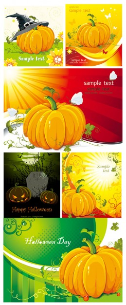 halloween pumpkin elements with nature background like winter spring