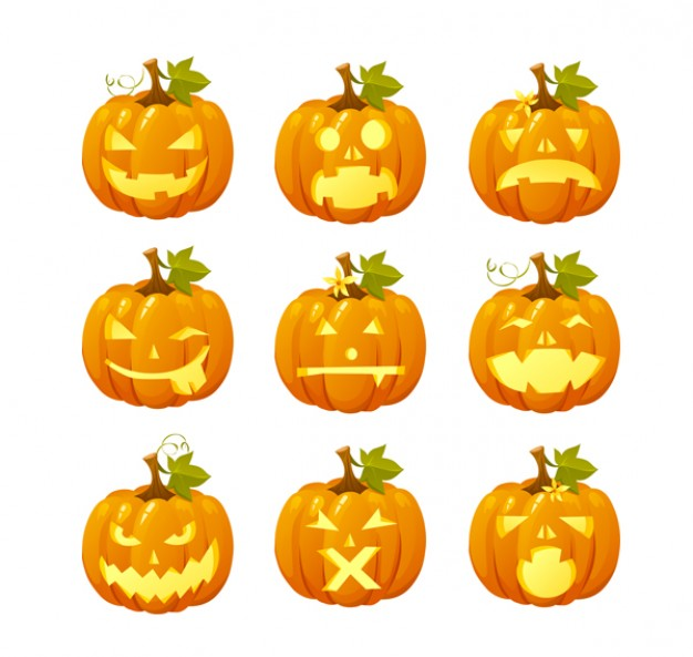 halloween pumpkin head emoticon with funny expression