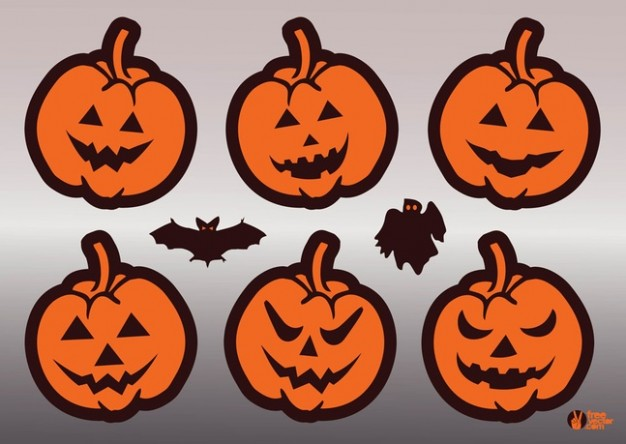 Halloween pumpkins faces with bats grey background about jack-o-lantern Holidays