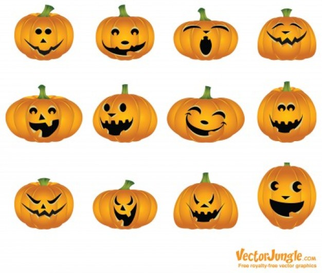 halloween pumpkins with white background