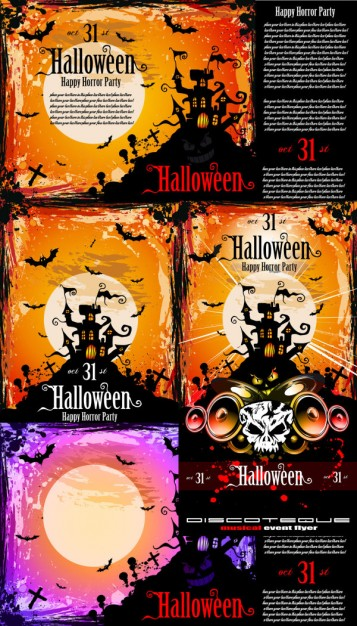 Halloween scene Holidays posters fine with sunset background about Orange Poster