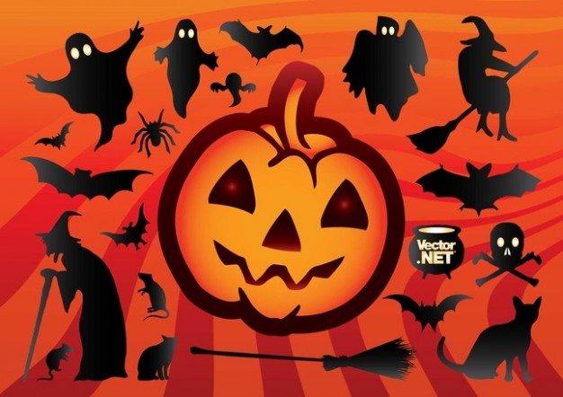 Halloween silhouette Holidays cartoon halloween with orange background about Graphics Jack-O-Lantern