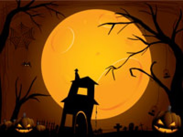 halloween silhouettes at moon night with pumpkin lamp and tree